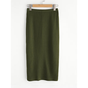 Elastic Waist Ribbed Pencil Skirt
