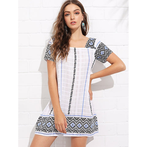 Geo Print Square Neck Tunic Dress