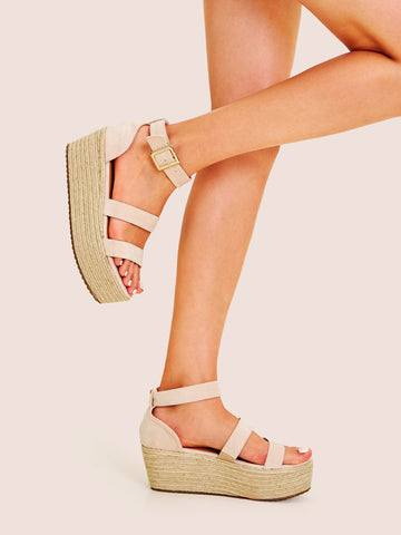 Open Toe Buckle Strap Espadrille Wedges