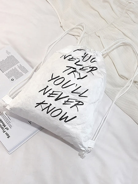 Slogan Print Backpack With Drawstring