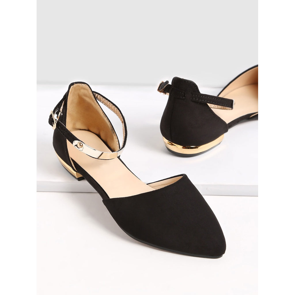 Black Point Toe Metallic Slingbacks Flats - Anabella's