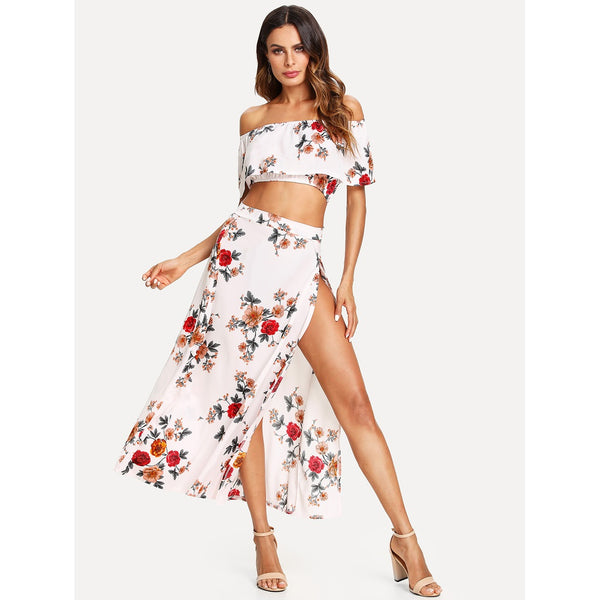 Bardot Floral Print Crop Top With Slit Side Skirt WHITE/MULTI