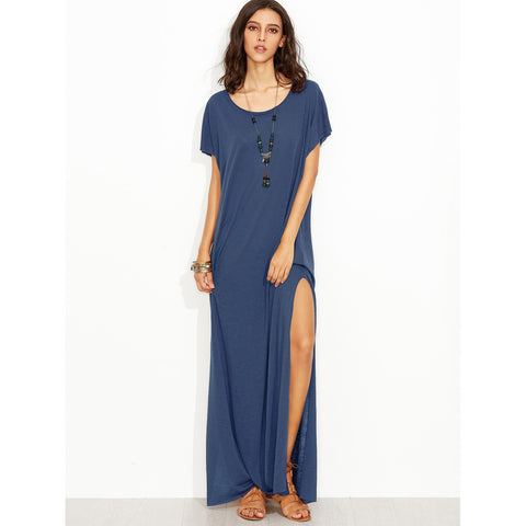 Side Slit Loose Fit Maxi Tee Dress Navy
