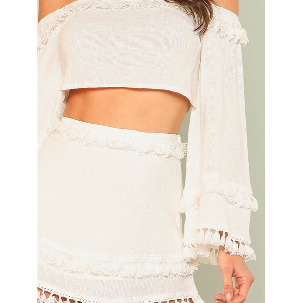 Bell Sleeve Layered Tassel Trim Crop Bardot Top & Skirt Set