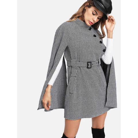 Self Belted Houndstooth Cape Coat