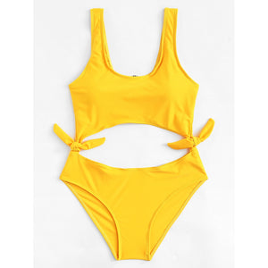 Cut Out Knot Swimsuit YELLOW