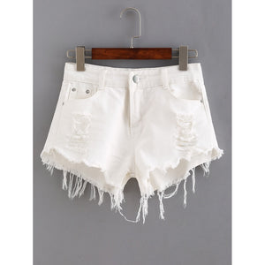Ripped Raw Hem Denim Shorts White
