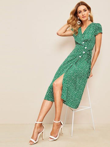 Ditsy Floral Button Front Wrap Dress