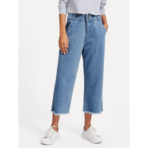 Raw Hem Wide Leg Jeans Blue