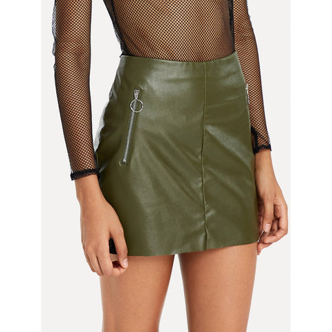 O-Ring Zip Detail Faux Leather Skirt Green