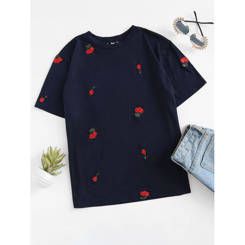 Cherry Embroidered T-shirt - Anabella's