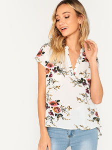 V-cut Neck Dip Hem Floral Top