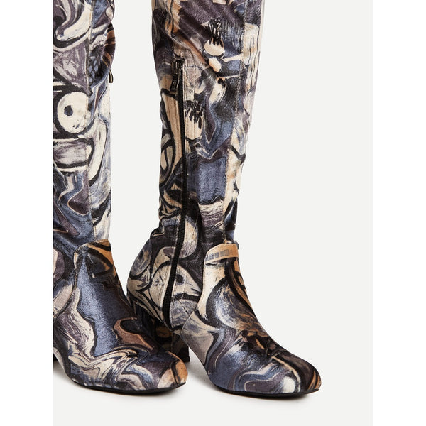 Mix Pattern Over Knee Block Heeled Boots - Anabella's