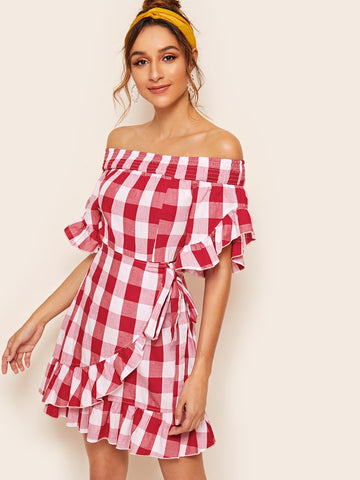 Bardot Ruffle Trim Gingham Knotted Dress With Wrap Skirt