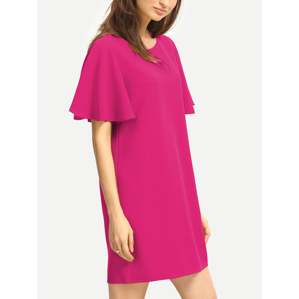 Flutter Sleeve Tunic Dress PINK - Anabella's