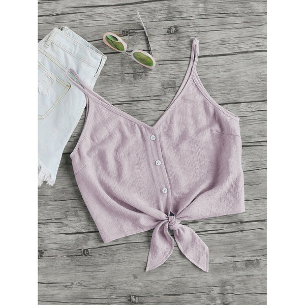 Button Placket Knot Front Cami Top PINK - Anabella's