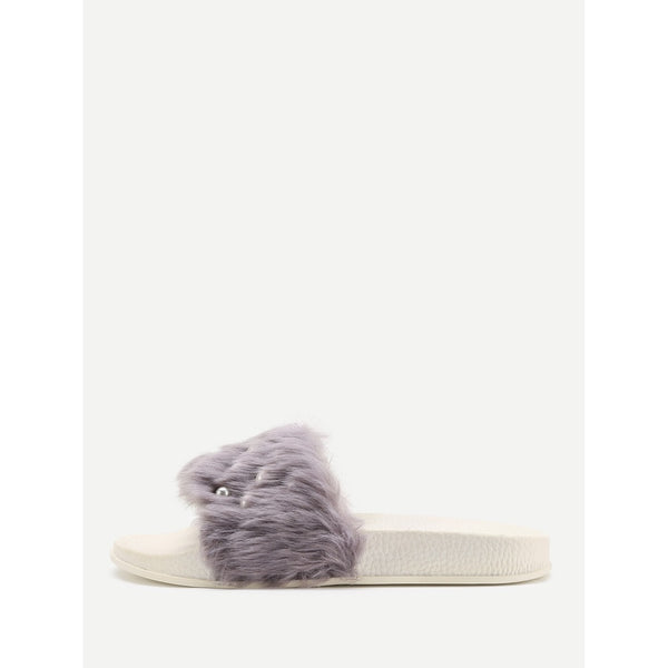 Faux Fur Flat Slippers With Faux Pearl - Anabella's