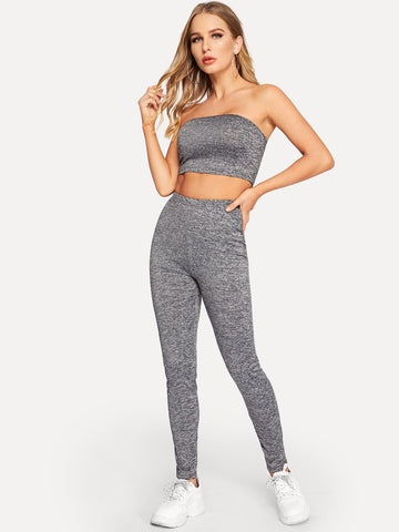 Slim Fitted Marled Bandeau Top & Leggings Set
