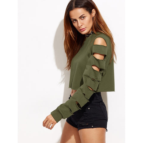 Ladder Cut Out Sleeve Raw Hem Sweatshirt