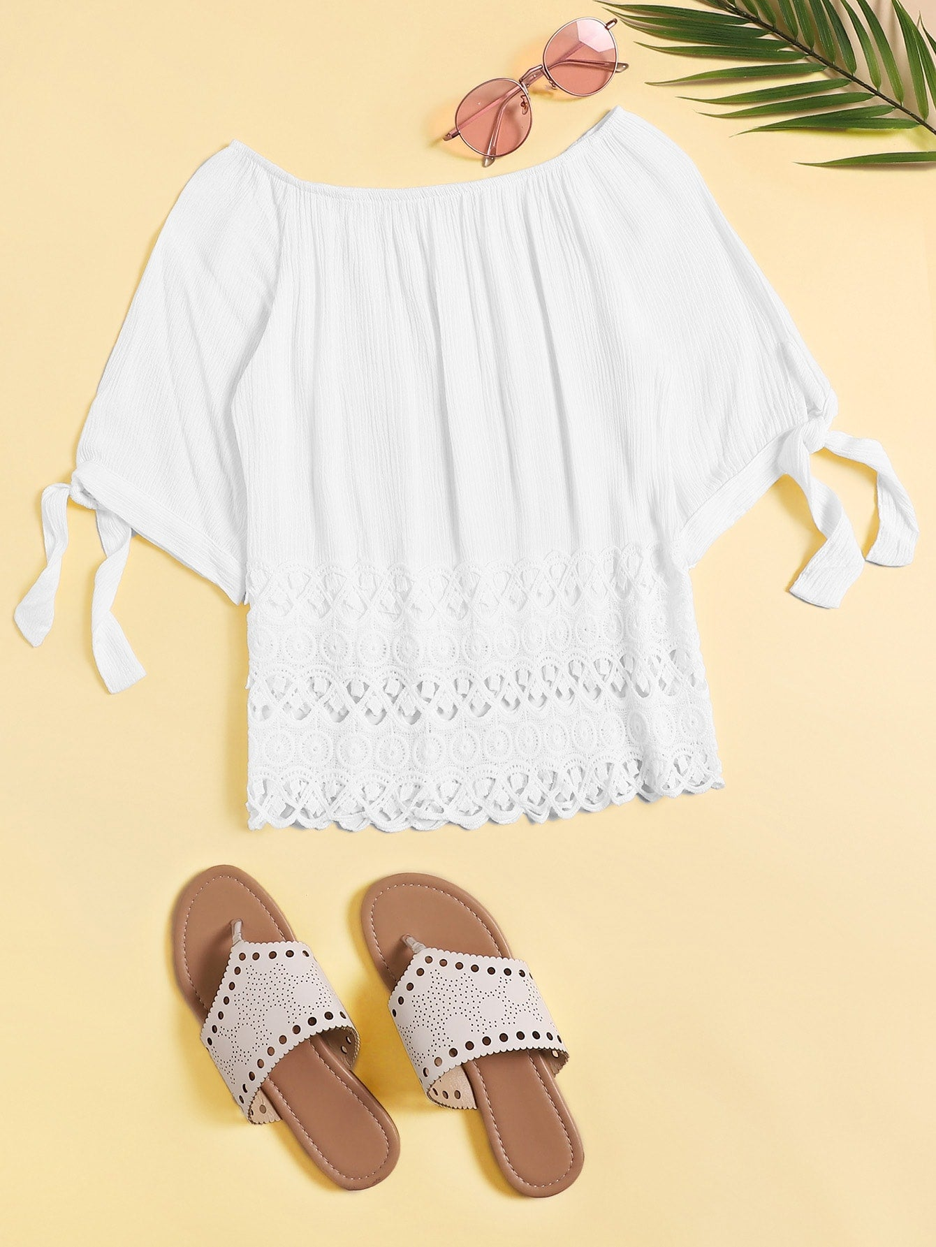 Knot Cuff Lace Hem Off The Shoulder Blouse