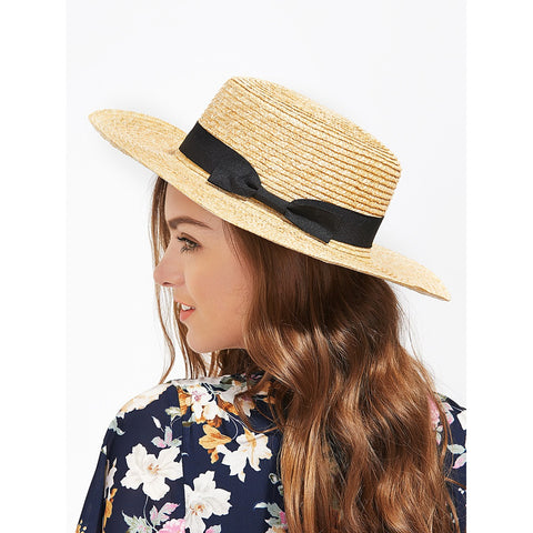 Bow Band Straw Boater Hat