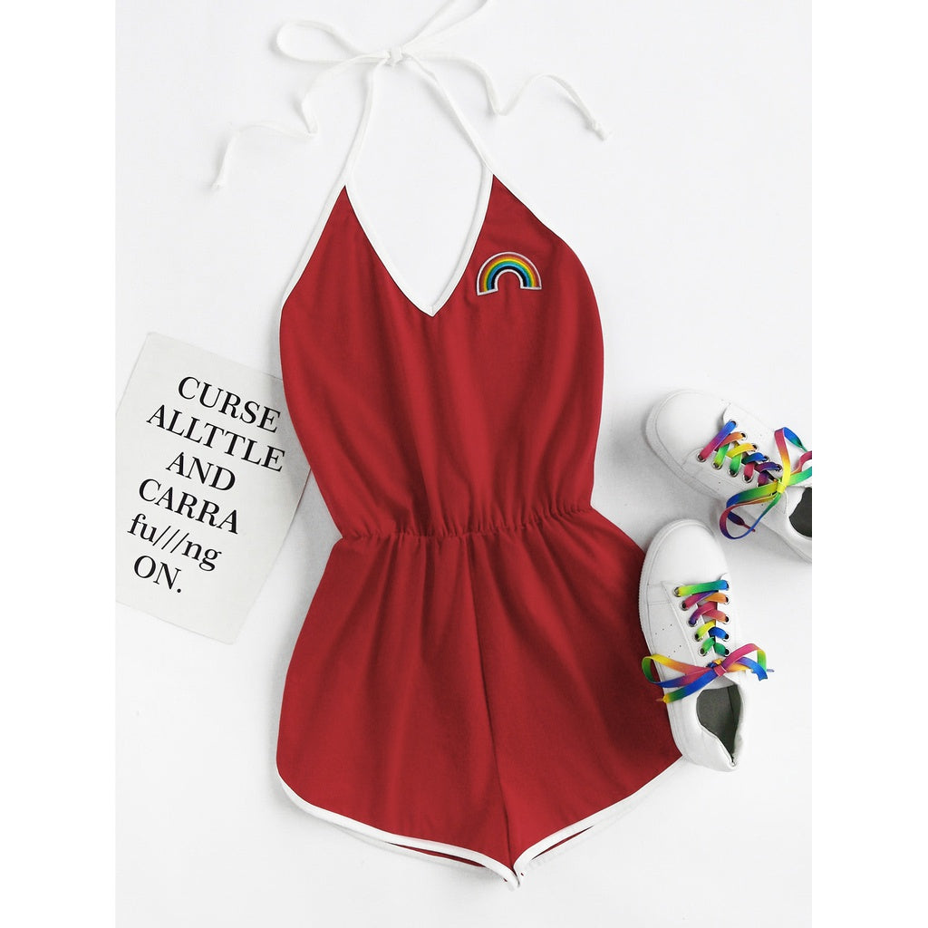 Rainbow Patch Contrast Binding Halter Romper RED