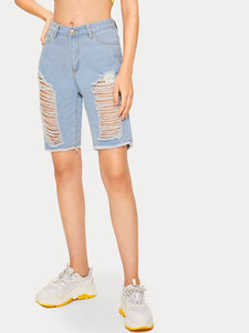 Button Waist Ripped Raw Hem Denim Shorts