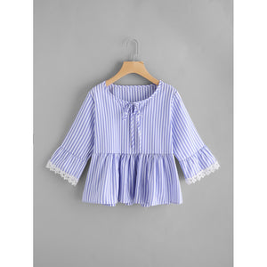 Contrast Lace Trim Vertical Striped Smock Blouse