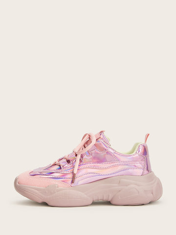 Lace-up Front Iridescent Sneakers
