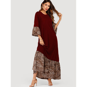 Contrast Leopard Maxi Dress Burgundy