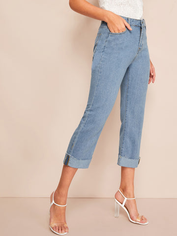 Solid Roll Up Wash Jeans