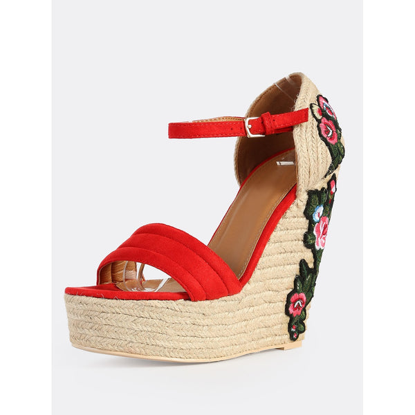 Floral Embroidered Wedges RED - Anabella's