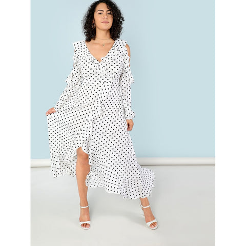 Plus Polka Dot Self Belted Surplice Wrap Asymmetrical Ruffle Dress