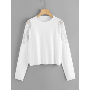 Embroidered Mesh Shoulder Soft Knit Sweater
