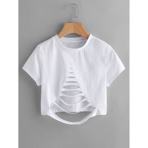 Ladder Ripped Crop Tee White