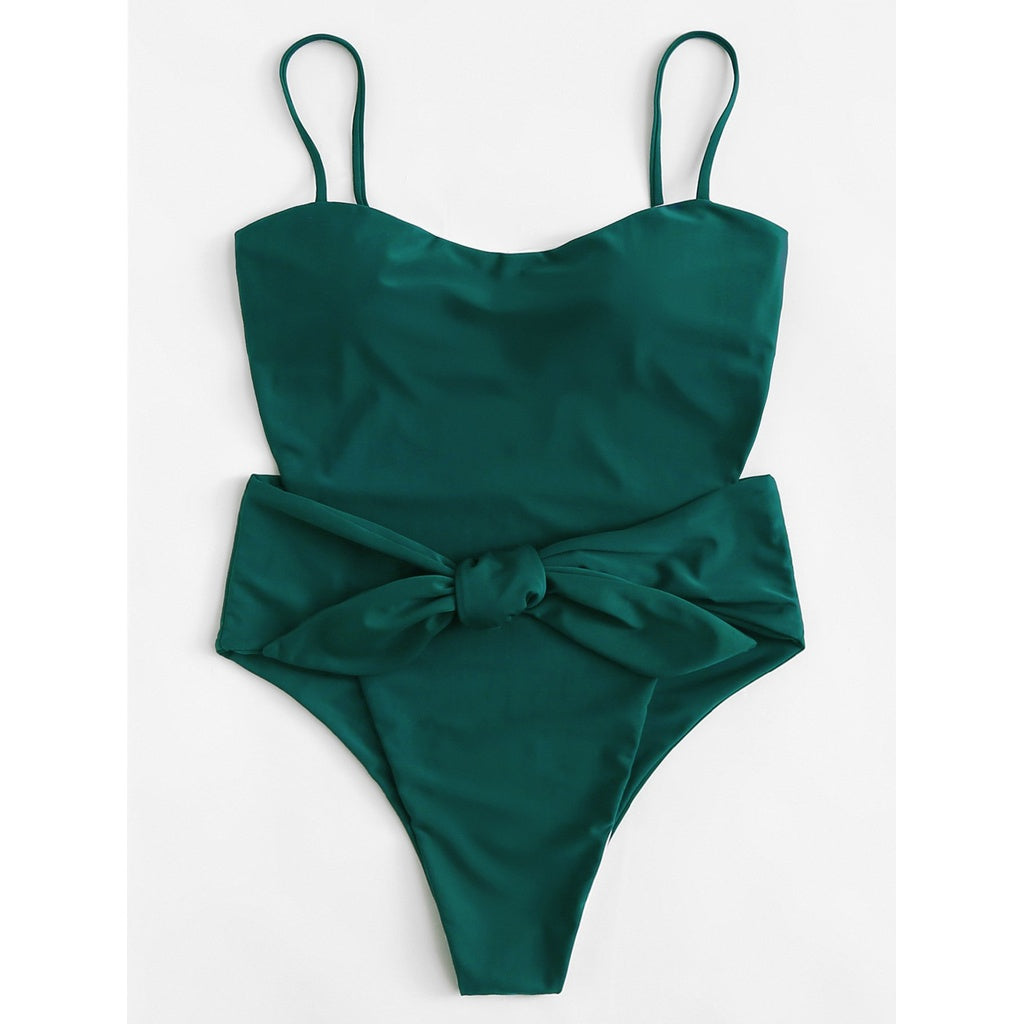 Bow Tie Cutout Swimsuit GREEN