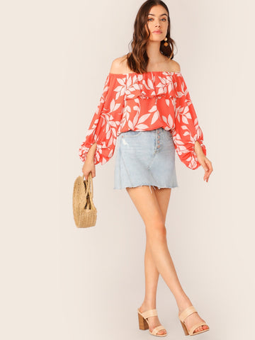 Off Shoulder Leaf Print Long Sleeve Crop Top