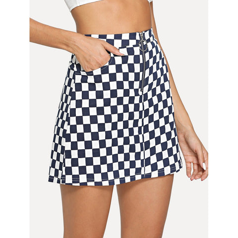 O-Ring Zipper Front Checked Skirt Navy