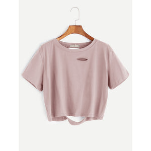 Distressed Crop Tee Pink