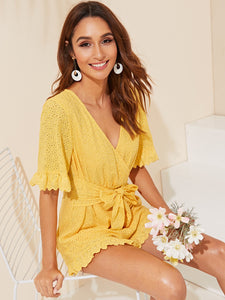 Ruffle Cuff Self Belted Wrap Schiffy Romper