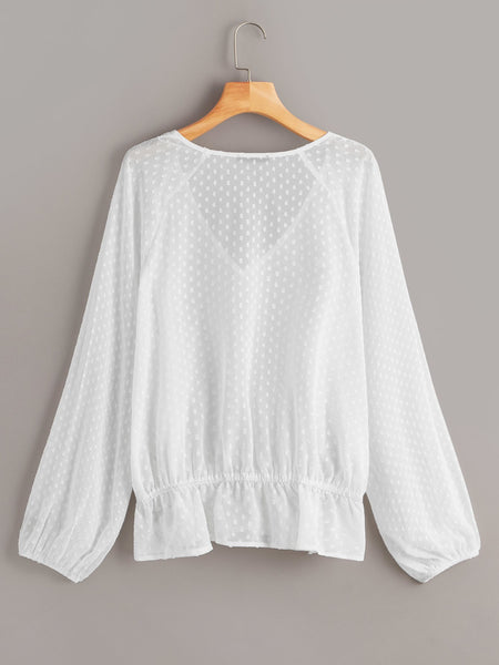 Plus V-cut Neck Lantern Sleeve Jacquard Top