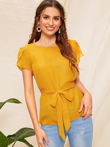 Knot Front Solid Blouse