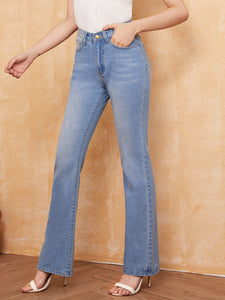 Light Wash Pocket Detail Flare Jeans