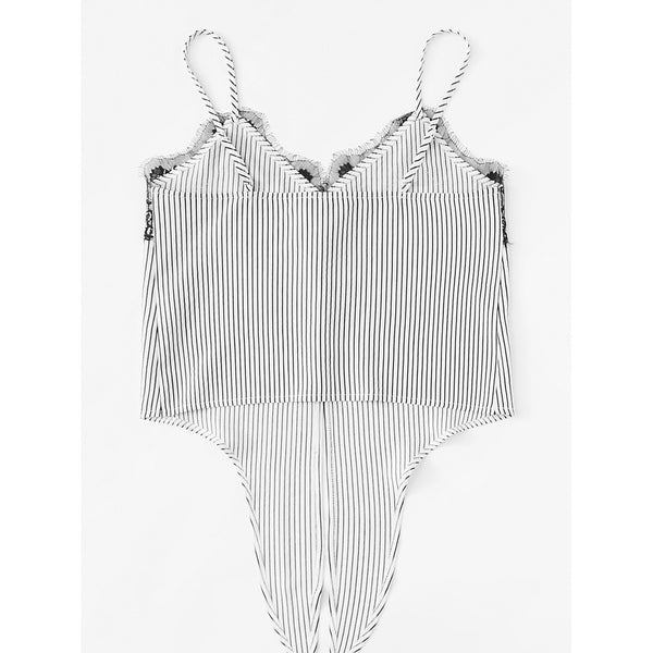 Lace Insert Knot Front Striped Cami Top - Anabella's