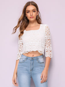Square Neck Guipure Lace Top