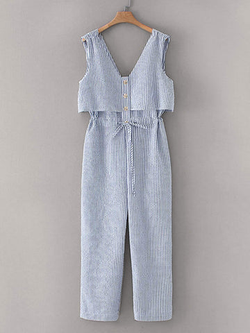 Button Front Drawstring Waist Stripe Jumpsuit
