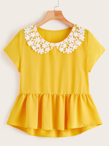 Contrast Lace Ruffle Hem High Low Blouse