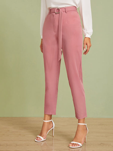 Solid Crop Belted Cigarette Pants