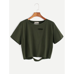 Distressed Crop Tee Army Green