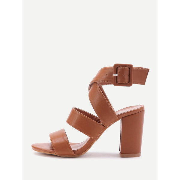 PU Criss Cross Block Heels With Buckle - Anabella's